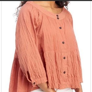 Free People Noble Adobe Front Button Blouse NWT